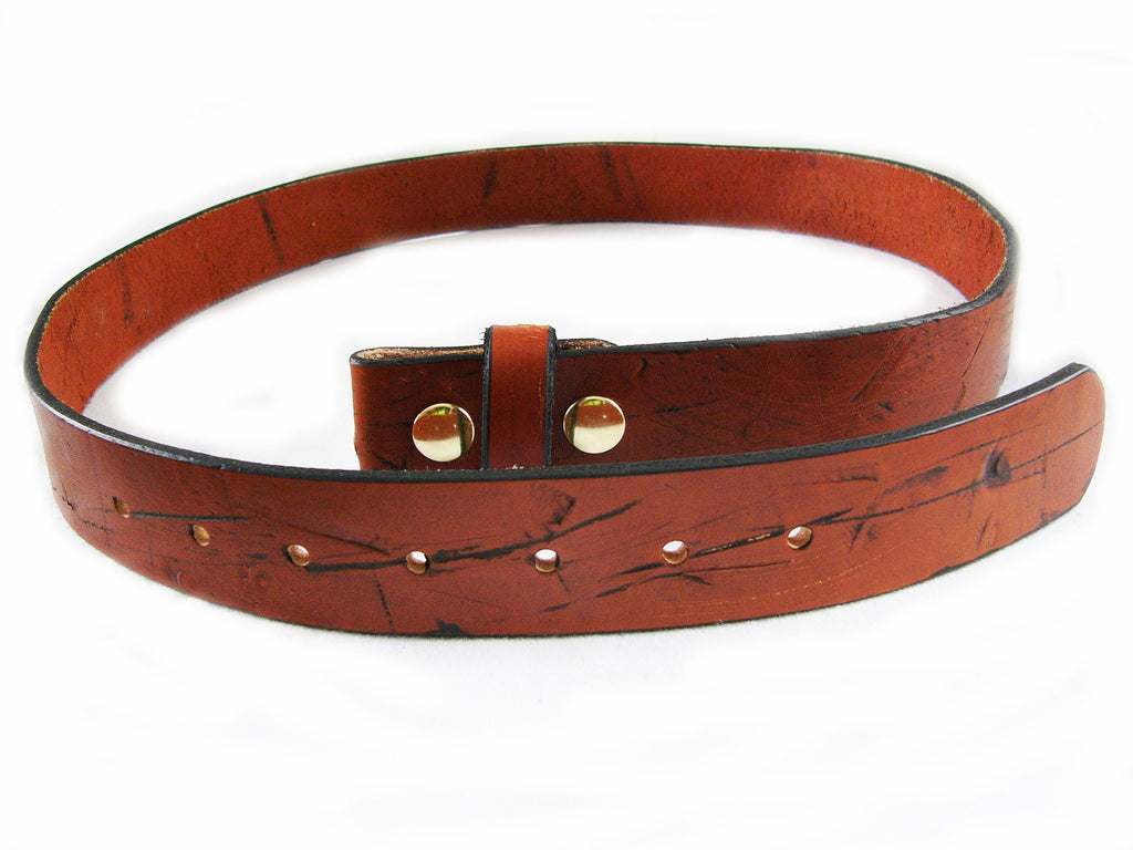 LT100 Branded Leather Belt - Brown