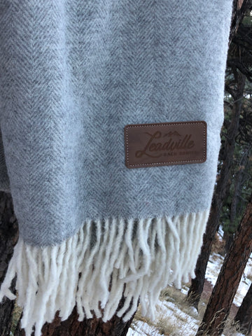 Leadville Leather Patch Wool Throw Blanket