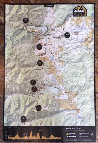 Leadville Trail RUN Map -100; 50; Marathon; Half; 10K - Rolled