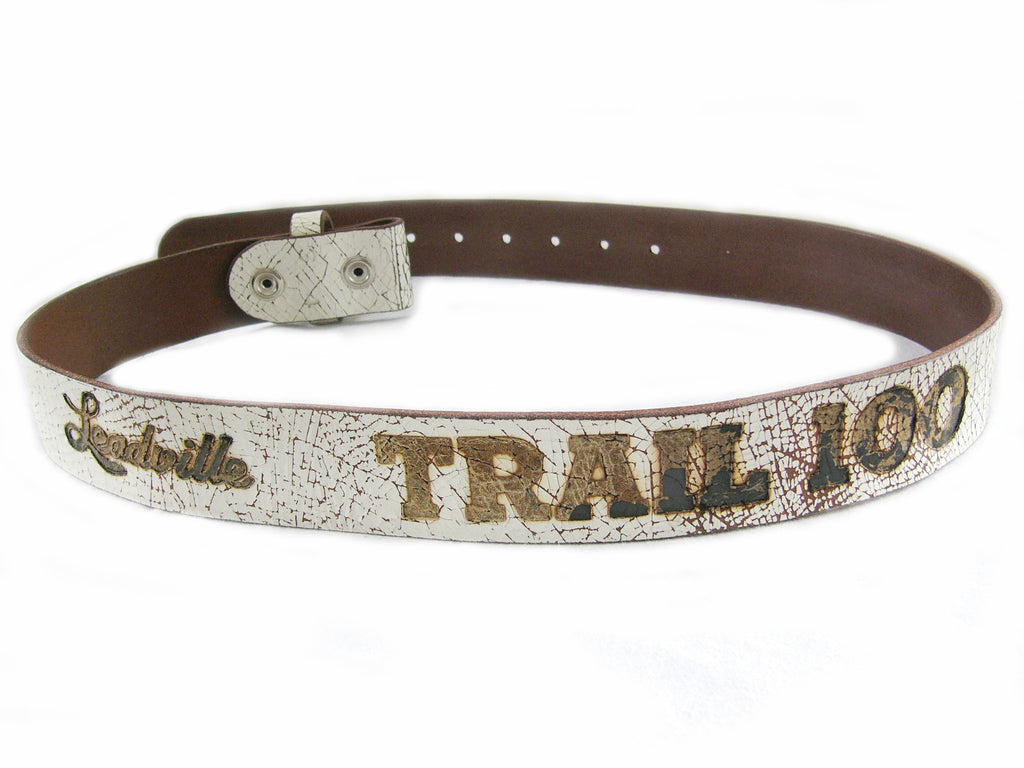 LT100 Branded Leather Belt - White Crackle