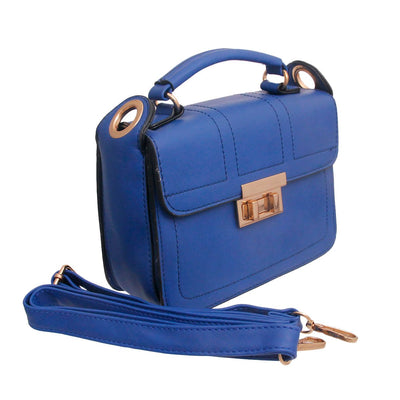 Blue Leather Square Crossbody