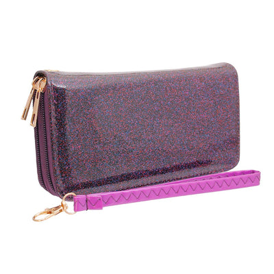Purple Glitter Dual Zipper Wallet