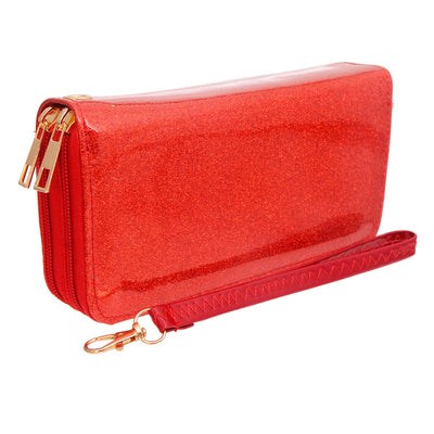 Red Glitter Dual Zipper Wallet
