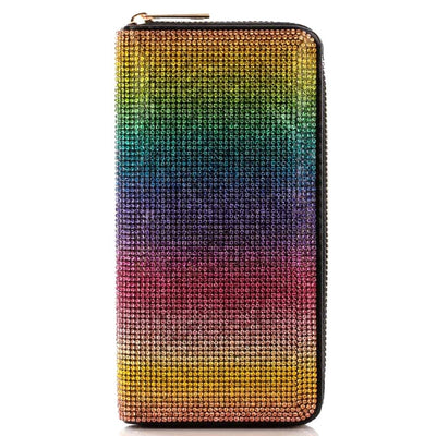 Rainbow Rhinestone Zipper Wallet