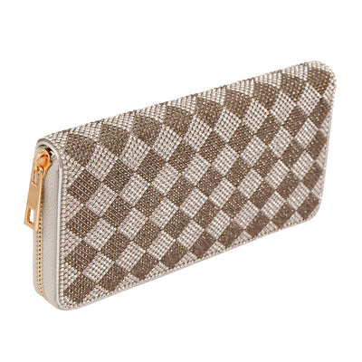 Harlequin Rhinestone Zippered Wallet