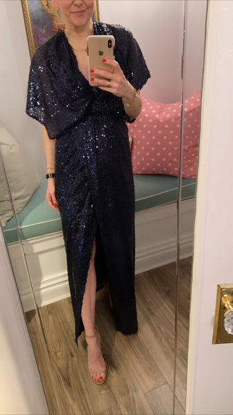 'Vanessa' Sequin Long Wrap Dress