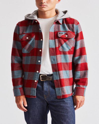 Brixton Mens Bowery Hood Long Sleeve Flannel - The Smooth Shop