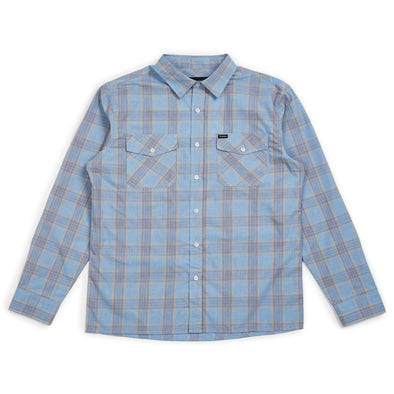 Brixton Mens Wager Long Sleeve Woven Shirt, Light Blue Plaid, XL - The Smooth Shop