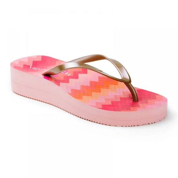 Vionic Womens Coogee Wedge Toe Post Sandals 10001121, Pink Multi Gold, 8 - The Smooth Shop