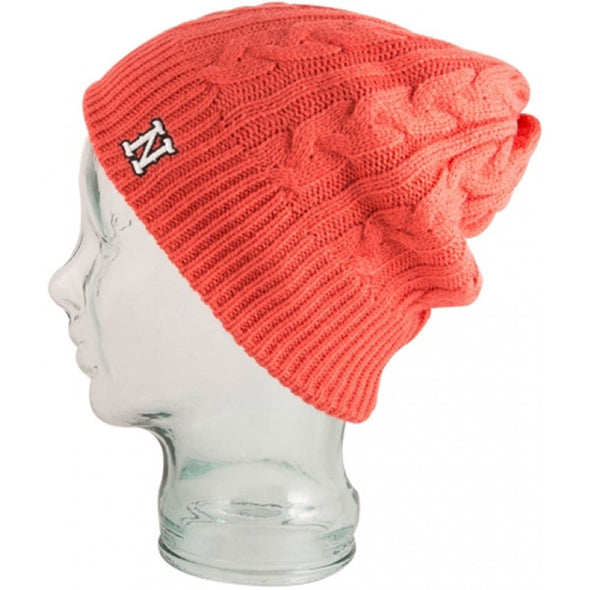 Neff Womens Sarah Textured and Embroidered Beanie 15F05037, Coral, OS - The Smooth Shop