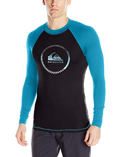 Quiksilver Mens Active Long Sleeve Rashguard EQYWR03060,Tarmac/Blue Danube,L - The Smooth Shop