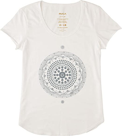 RVCA Womens Mort Mandala T-Shirt W134G04M,Vintage White,XS - The Smooth Shop