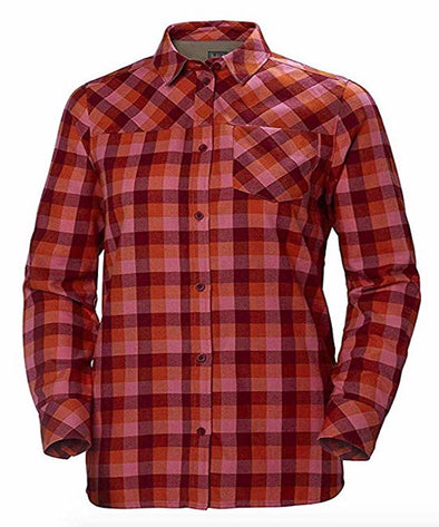 Helly Hansen Womens Lokka Long Sleeve Shirt, Plum Plaid, L - The Smooth Shop