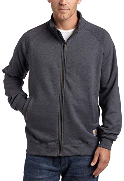 Carhartt Mens Midweight Mock Neck Zip Front Sweatshirt K350, Charcoal Heather, 5XLR - The Smooth Shop