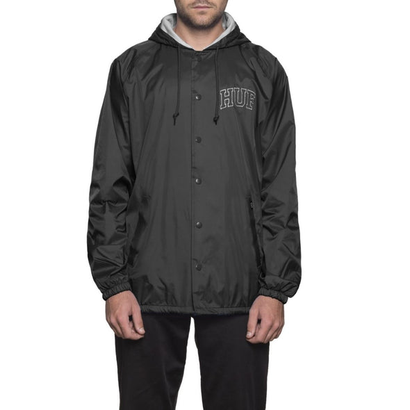 Huf Mens Arch Block Hooded Coaches Jacket JK00052, Black, M - The Smooth Shop