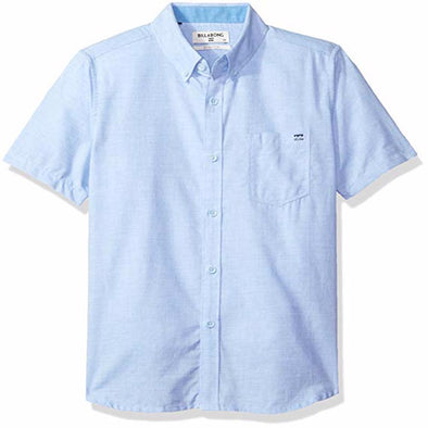 Billabong Boys All Day Chambray Short Sleeve Shirt B518JALL,Light Blue,L - The Smooth Shop