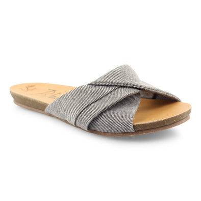 Blowfish Malibu Womens Garliss Sandals, Gray Smokey Twill, 7.5 - The Smooth Shop