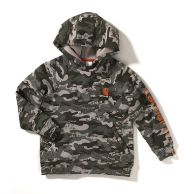 Carhartt CA8165 Toddler Boy's Graphic Camo Fleece Hooded Sweatshirt, LT Green, Extra Large - The Smooth Shop