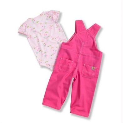 Carhartt CG9591 Girls Washed Canvas Bib Overall Set, Pinkalicious, 6 Month - The Smooth Shop