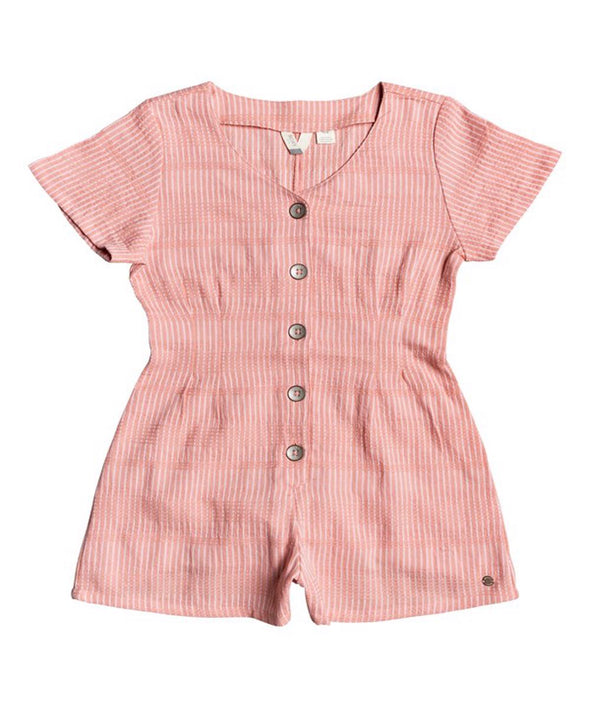 Roxy Girls Below Horizon Short Sleeve Buttoned Romper - The Smooth Shop