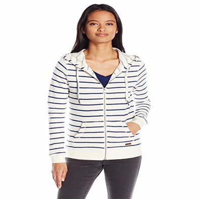 Roxy Womens Signature Stripe Zip Hoodie ERJFT03487,Marshmellow Signature,S - The Smooth Shop
