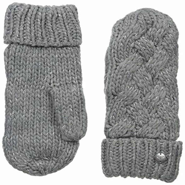 Roxy Womens Love & Snow Mittens ERJHN03040,Mid Heather Grey,OFA - The Smooth Shop