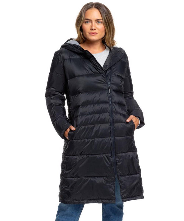 Roxy Womens Everglade Longline Hooded Waterproof Puffer Jacket - The Smooth Shop