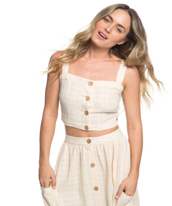 Roxy Womens Ocean Groove Buttoned Crop Top - The Smooth Shop