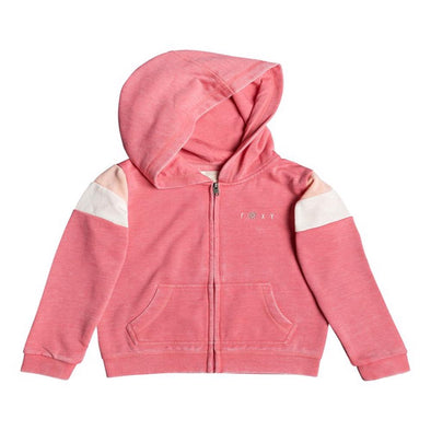 Roxy Girls Beach In Hawaii Mountain & Waves Zip Up Hoodie, Honey Suckle, 7 - The Smooth Shop