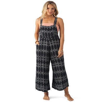 Rip Curl Womens Sari Printed Jumpsuit, Black , S - The Smooth Shop