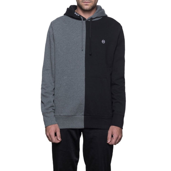 Huf Mens Henry Pullover Hoodie FL00013, Black/Charcoal Heather, L - The Smooth Shop