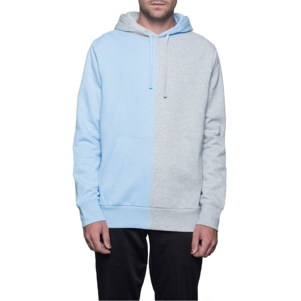 Huf Mens Henry Pullover Hoodie FL00013, Heather Grey/Baby Blue, XXL - The Smooth Shop