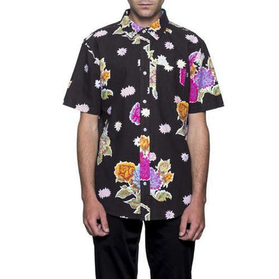 Huf Mens Botanical Floral Short Sleeve Shirt BU00029, Black, L - The Smooth Shop