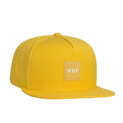 Huf Mens Box Logo Snapback Hat HT00194, Yellow, OFA - The Smooth Shop