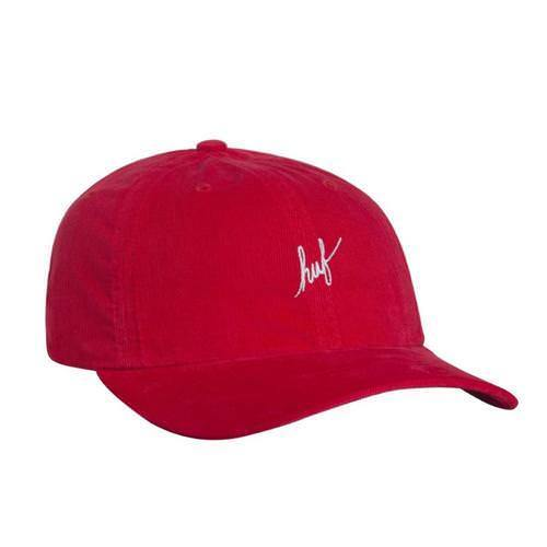 Huf Mens Corduroy Script Curved Visor Hat HT00205, Red, OFA - The Smooth Shop