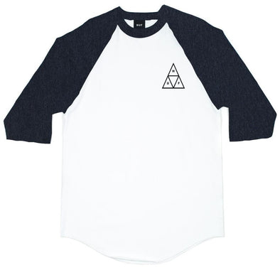 Huf Mens Triple Triangle Raglan T-Shirt TS53033,Charcoal Heather,XL - The Smooth Shop