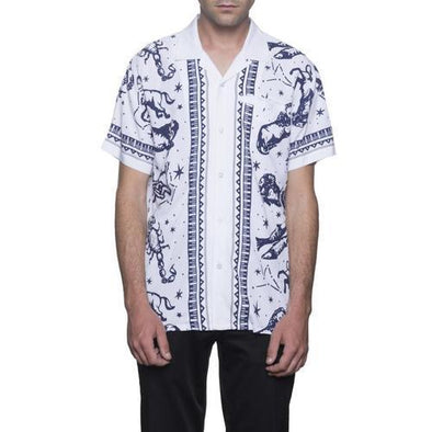 Huf Mens Zodiak Short Sleeve Shirt BU00031, White, XXL - The Smooth Shop