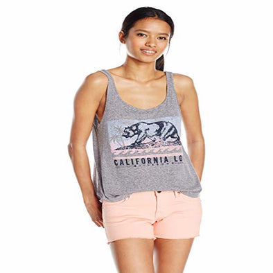 Billabong Womens Batik Cali Bear Tank Top J475KBAT,Dark Athletic Grey,S - The Smooth Shop