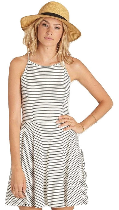 Billabong Womens Shes Alright Dress JD20KSHE,Black/White,L - The Smooth Shop