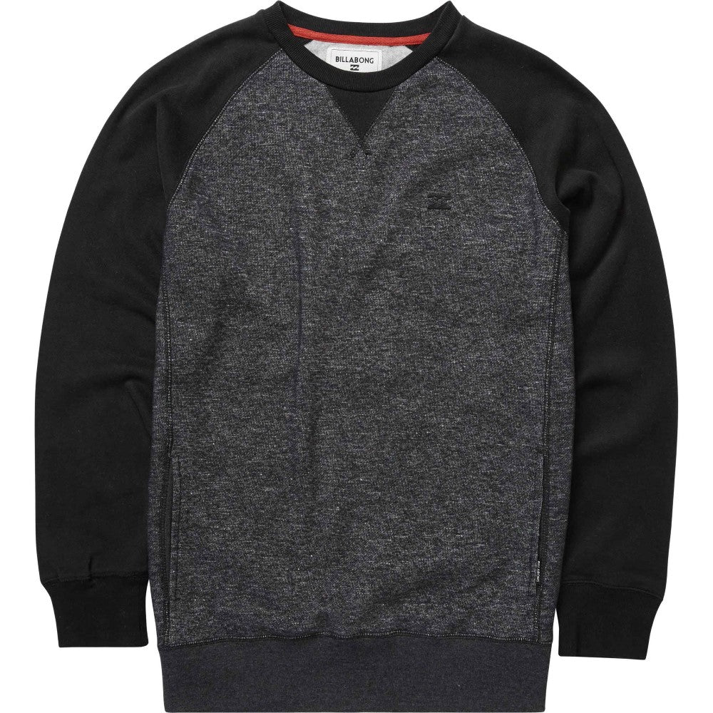 Black Heather Billabong Mens Balance Crew Fleece M615GBAL