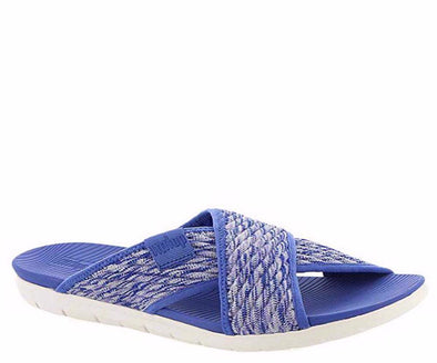 FitFlop Womens Artknit Cross Slides, Illusion Blue, 10 - The Smooth Shop