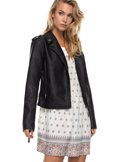 Roxy Womens Midnight Ride Faux Leather Biker Jacket ERJJK03178 - The Smooth Shop
