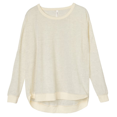 RVCA Womens Label Dolman Pullover WF30G01L,Vintage White,S - The Smooth Shop