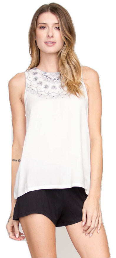 RVCA Womens Mind Tank Top WF511MIN,Vintage White,L - The Smooth Shop