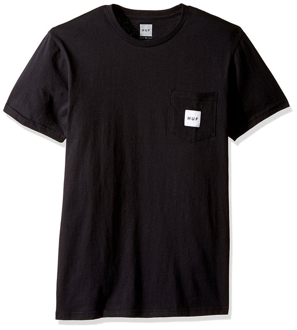 Huf Mens Box Logo Pocket T-Shirt TSBSC1112, Black, L - The Smooth Shop