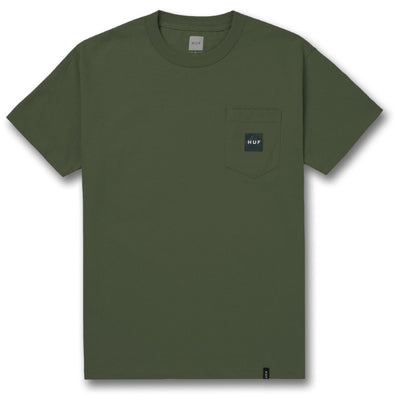 Huf Mens Woven Label Pocket T-Shirt TS00168, Washed Green, S - The Smooth Shop