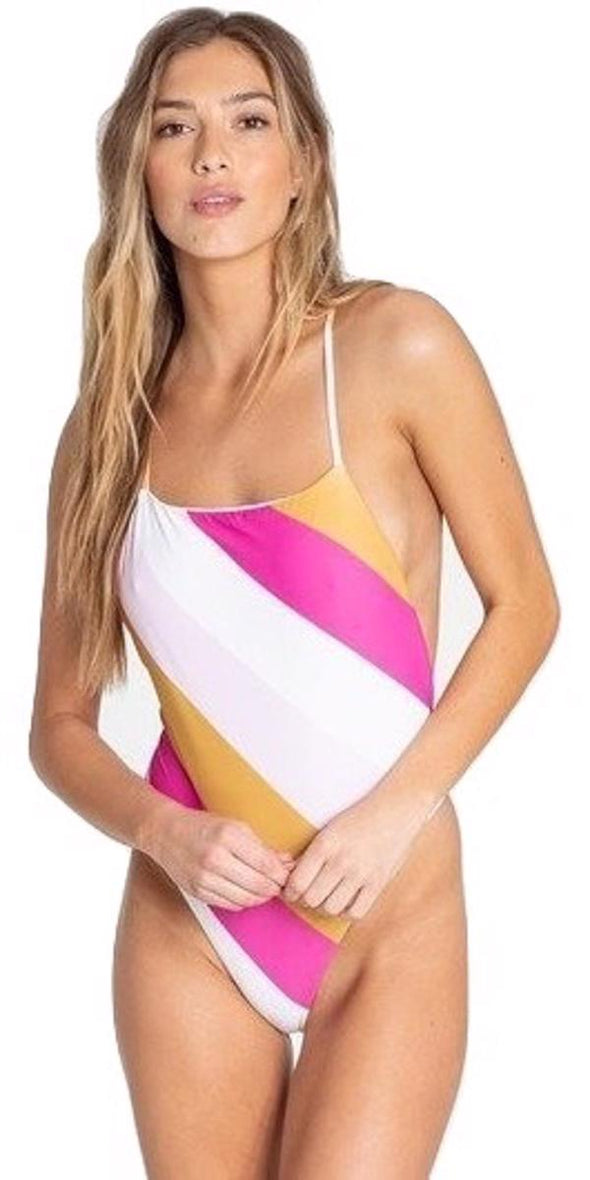Billabong Womens Soul Stripe One Piece Swimsuit, Multi, L - The Smooth Shop