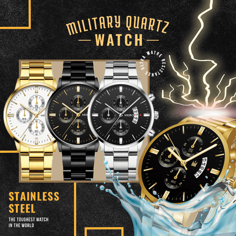 Military Stainless Steel Quartz Watch