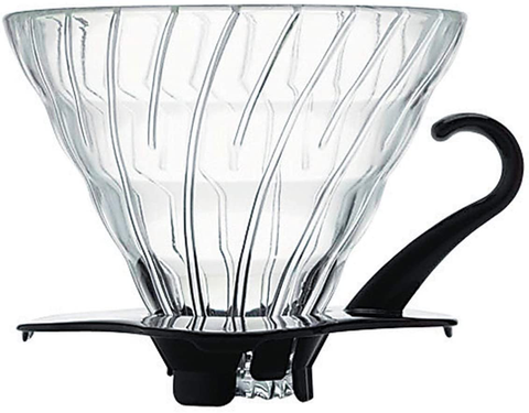 Hario V60 Glass Coffee Dripper, Size 02, Black