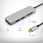 Load image into Gallery viewer, USB-C Hub Multiport Adapter - 5 in 1